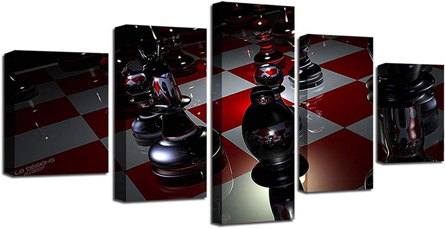 FENDOUBA Wall Décor Artwork for Walls International Chess High Definition Printing Wall Decoration Home Restaurant Hanging Painting NonWoven Fabric 5Piece Set