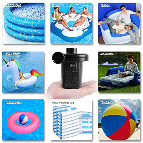 semai Electric Air Pump Portable Quick Fill Air Pump for Inflatable Couch, Air Mattress Bed,Swimming Ring, Support Home & Car Use Electric Inflator/Deflator Air Pump with 3 Nozzles,AC 110V/ DC 12V