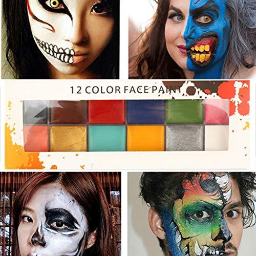 Bulary Face Paint Set Peinture à l'huile Peinture de corps Drame Effets spéciaux Super concentré 12 couleurs Art Make Up Party Palette Artiste