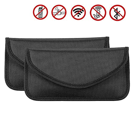 LTXDJ 2 Stück Signal Blocking Bag, Shielding Pouch Brieftasche Hülle Handy-Sicherheitstasche Anti-Tracking Anti-Spionage Anti-GPS für ID-Karte/Bankkarte und Autoschlüssel, Schwarz