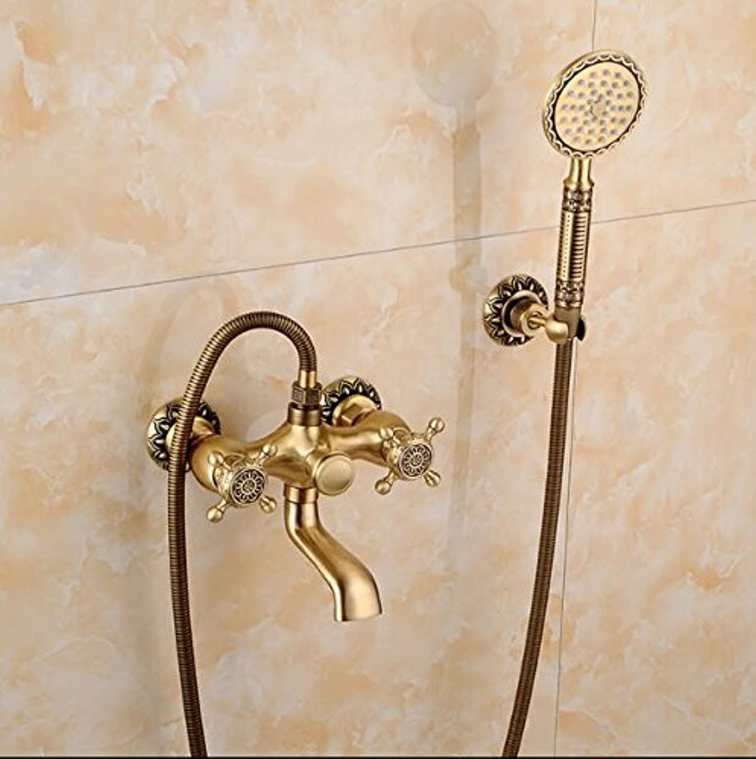 New Arrivals high quality total brass antique finished bathroom shower faucet set,bathtub faucet set with hand held shower head,style 2
