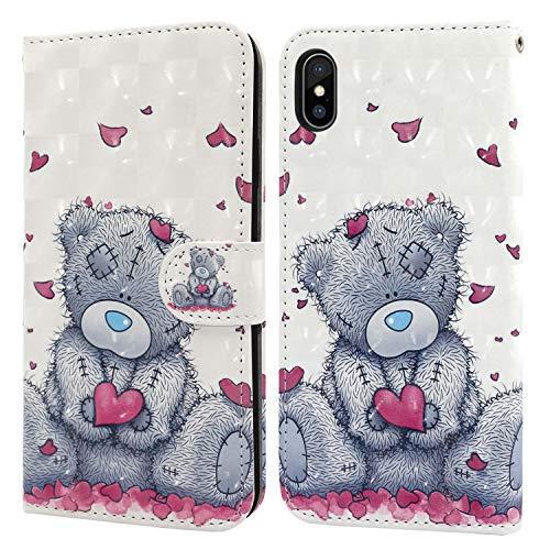 Ailisi Cover iPhone X/XS, 3D Flip Cover Cartoon cute love heart Teddy Bear Custodia Protettiva Caso Libro Pelle PU con Portafoglio, Funzione Supporto, Chiusura Magnetica