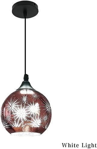 BGTRRYHY Luminaire Suspendu en Verre LED s'allume de Style européen luminaire créatif Lampe de décoration d'intérieur-blanclumière-D15XH15cm