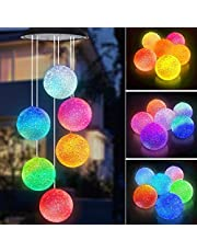 Tapusen Wind Chime Solar Lights,Butterfly Wind Chimes Led,Solar Crystal Ball Indoor Outdoor Decor,Solar Light Mobile for Garden Yard Home, Gifts for Mom, Wife, Grandma (Balls)