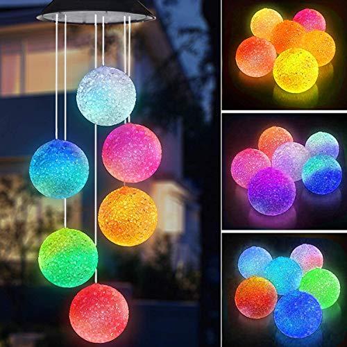 Windspiel Solarlichter, Schmetterling Windspiele LED geführt, Solar Kristallkugel Indoor Outdoor Dekor, Solarlicht Mobil für Garten Yard Home, Geschenke für Mama, Frau, Oma (Ball)