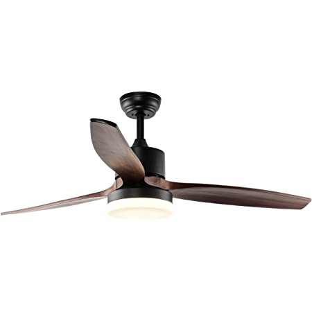 Amazon Com Rainierlight Modern Ceiling Fan Led 3 Color Light Warm Yellow Netural 3 Wood Blades 1 Light Kit Remote Control 3 Speed Low Medium High 48inch For Indoor Kitchen Dining