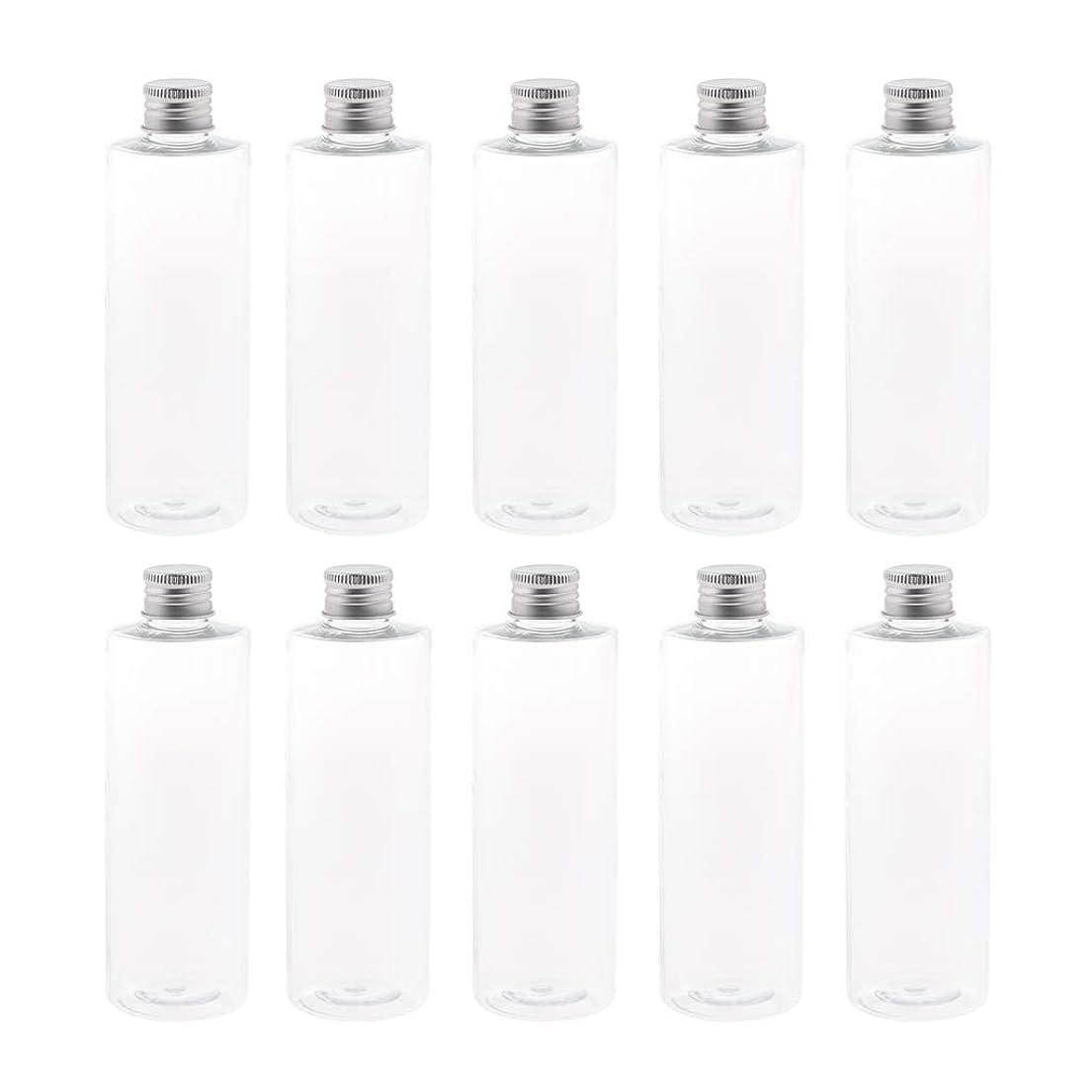 ドリル説明的パイプFenteer 空ボトル 小分け用 ペットボトル 詰め替え 液体 保存用 アルミキャップ付 旅行 250ml 10個入