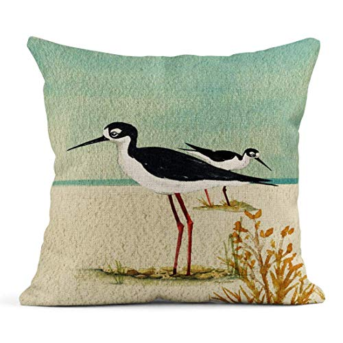 Mr.Q Throw Pillows Boho Case 18 X 18 Inch Seabirds by The Sea Coastal Christmas Day Throw Pillow Boho Chevron Seat for Bench Toddler-Boys Farmhouse Home Business Gifts Bedroom Teens Couch Sofa