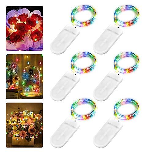 6 Stück LED Lichterkette Batterie, 2M 20er LED Kupfer Drahtlichterkette Lichterkette Batteriebetrieben IP65 Wasserfest Fairy Light für Party Weihnachten Hochzeit Beleuchtung Deko, Farbe