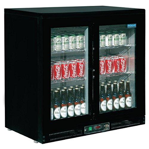 Frigo à bar / Arrière-bar 168 bouteilles Polar Double porte coulissante. Capacité : 168 bouteilles de 330ml.