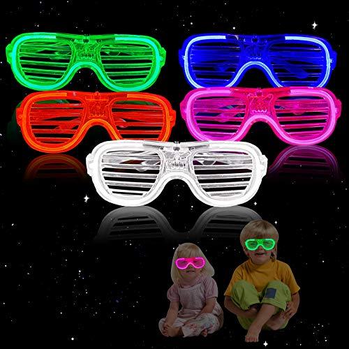 GUBOOM 5 LED Leuchtspielzeug Partyartikel, LED Brillen für Party, Leuchtspielzeug, Kindergeburtstag Gastgeschenke, Geburtstagsgeschenke, Blinkt Partyspielzeug für Weihnachten