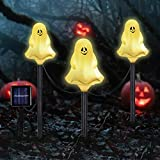 Set of 3 Halloween Decorative Stake Lights, Solar Operated White Ghost Light Outdoor, Halloween Decoration Lights for Pathway, Lawn, Yard