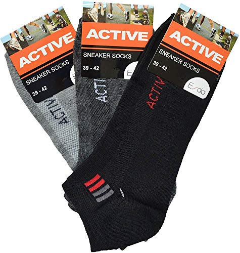 Esda - Herren Sneaker Socke ''Active'' schwarz-anthrazit-grau 3er Pack 43/46