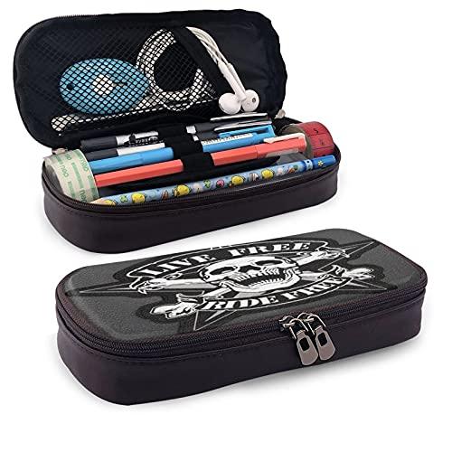 Skull Punk, estuche multifunción para lápices, estuche de cuero, bolsa de papelería, kit de almacenamiento portátil para cosméticos