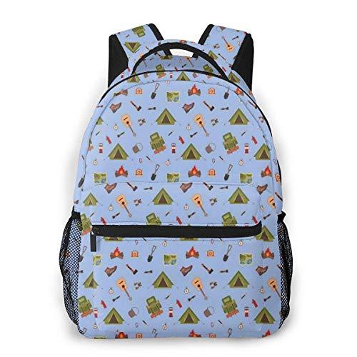 Lawenp Schulrucksäcke Camping Icons wie Zelt Gitarre Lagerfeuer und Stiefel Illustration für Kinder für Teen Girls Boys 16 Zoll Student Bookbags Laptop Casual Rucksack