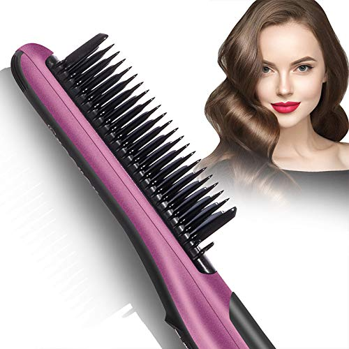 Fast Heating Hair Straightener Brush - Anti Scald Ceramic Straightener Brush,Anti Scald Ceramic Straightener Brush with 6 Temp Settings 20 Minute Auto-Off Straightening Comb for Home,Travel and Salon