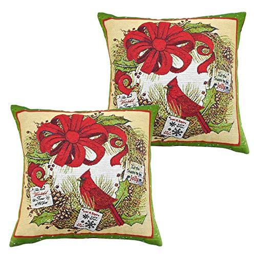 Demason - 2 Fundas de Almohada Decorativas de Algodón y Lino con Pájaro para Navidad, Decoración para Sofá, Coche, Dormitorio, Hogar, 40 x 40 cm