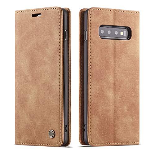 QLTYPRI Hülle für Samsung Galaxy S10, Vintage Dünne Handyhülle mit Kartenfach Geld Slot Ständer PU Ledertasche TPU Bumper Flip Schutzhülle Kompatibel mit Samsung Galaxy S10 - Braun