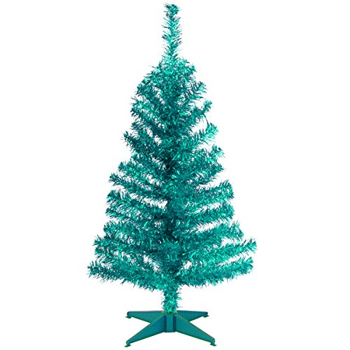 National Tree Company Artificial Christmas Tree | Includes Stand | Turquoise Tinsel - 3 ft