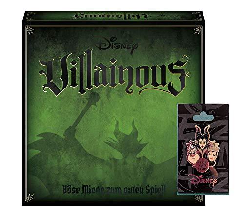 Ravensburger Familienspiel Disney Villainous, Brettspiel für Kinder und Erwachsene ab 10 Jahren + Bösewichte-Anstecker