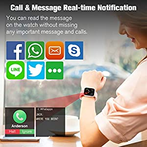 Smart Watch,Bluetooth Smartwatch Touch Screen Sports Fitness Watch Activity Tracker with Heart Rate Blood Pressure Monitor IP67 Waterproof Fitness Tracker Watch for Android iOS Phones Men Women Kids