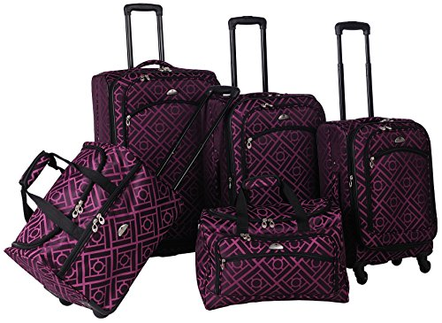 American Flyer Astor 5-Piece Spinner Luggage Set, Black/Purple, One Size