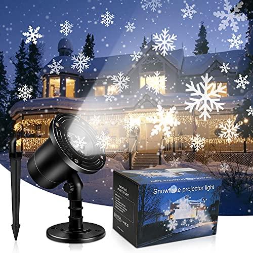 Led Projektor Weihnachten, Schneeflocke Projektorlampe, Rotierende Schneeflocken Projektor Lichter mit Zwei Wege Installation,Wasserdicht Weihnachtsprojektor für Heim Party Geburtstag Geschenk