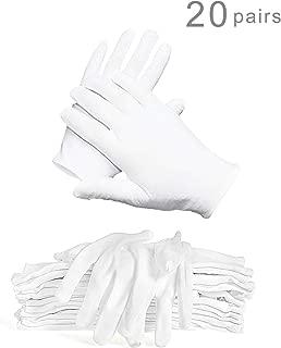 WTSHOP 20 pairs White Working Glove,Lightweight Soft Protective Working Glove,White Cotton Gloves Work Gloves for Ceremony