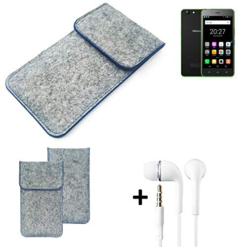 K-S-Trade® Filz Schutz Hülle Für Hisense Rock Lite Schutzhülle Filztasche Pouch Tasche Handyhülle Filzhülle Hellgrau, Blauer Rand + Kopfhörer