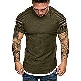 VJGOAL Color sólido de la Moda de Verano de los Hombres Pliegues Delgado patrón de Manga Corta Cuello Redondo Top Casual Camiseta de los Hombres(x-Large,Ejercito Verde)