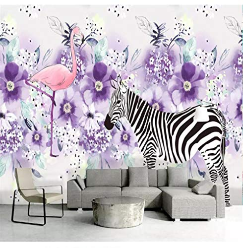 3D Wallpaper Fresh Hand-Painted Zebra Moving Purple Flower Plant Decorative Painting Background Wall