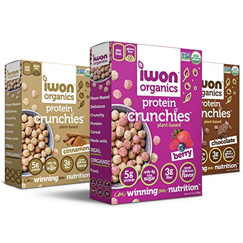 IWON Organics Protein Crunchies - Plant-based Protein, Low Sugar, Gluten & Dairy Free, Non-GMO, Organic Breakfast Cereal - 3 Flavor Variety Pack - 7oz (Pack of 3)
