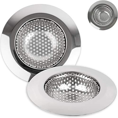 Abfluss Sieb, 3er Set, Ø 90 mm, geeignet für Abflüsse ab Ø 57 mm innen, ragt 20 mm tief in den Ausguss, Spülbecken Sieb mit optimierter Passform, Abflusssieb Spültisch, für Küchenspüle, Waschtisch