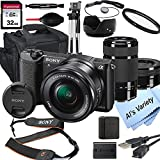 Sony Alpha a5100 Mirrorless Digital Camera with 16-50mm and 55-210mm Lenses+ 32GB Card, Tripod, Case, and More (18pc Bundle)