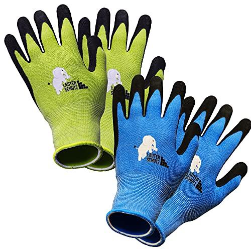 LauterSchutz® für Kinder: 2 Paar Arbeitshandschuhe (mit Handflächenbeschichtung) aus dehnbarem Gewebe, für Gartenarbeit und mehr (Größe M (5-7 Jahre))