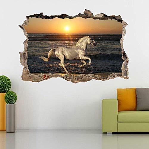 Pegatinas de pared Caballo blanco en el mar puesta de sol 3d roto etiqueta de la pared calcomanía arte mural animal