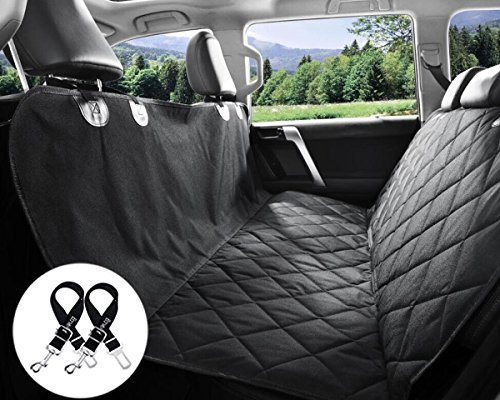 Bonve Pet Full Hammock Dog Seat Cover - Waterproof Pets Car Seat Covers Liner – with 2 Adjustable Pet Car Seats Safety Belts Best Dog Hammock Bench Protector for Cars, SUV, Truck Backseat, Standard
