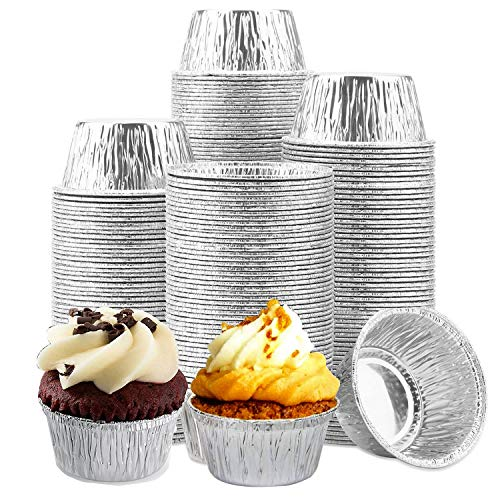 Aluminum Foil Ramekins Little, Foil Cups [150 Pack] Ramekins Muffin Cups Durable Quality Disposable Aluminum Foil Baking Cups, 4 oz Disposable Foil Cups for Cupcake Tart,Pudding,Appetizer