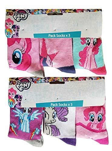 MLP My Little Pony Pferde bunte (pink, lila, weiß, türkis) Motiv-Socken mit Twilight Sparkle, Rainbow Dash, Rarity und Pinkie Pie, für Mädchen (23/26)