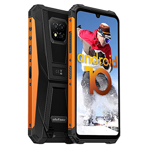 Ulefone Armor 8 Handys Wasserdicht - Staubdicht Fallfester Android 10 AI Qcta-Core Prozessor 4+64GB 6,1-Zoll-Bildschirm 16+8MP Kameras(Marco Objektiv) Outdoor Smartphone ohne Vertrag (Orange)
