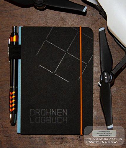 Roboterwerk Libro de registro de dron, encuadernado, 144 páginas con lápiz táctil, mapa de piloto y matrícula de dron de cristal