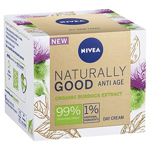 NIVEA Naturally Good Anti Age Day Cream Face Moisturiser with Organic Burdock Extract, 50ml, 50 ml