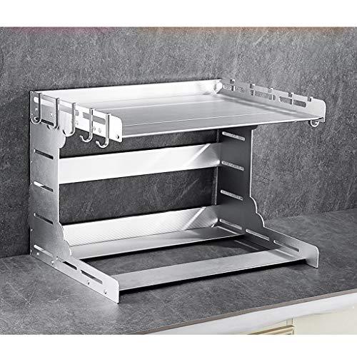RSWLY Estante base doble estante de almacenamiento de cocina 55 * 42.5 * 40.5cm (Color : Silver)