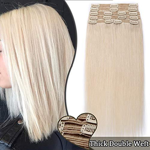 Extensions a Clip Cheveux Naturel Maxi Volume 8 Bandes - Rajout Double Weft Cheveux Humain (#70 BLANC, 10 pouces/25cm-110g)