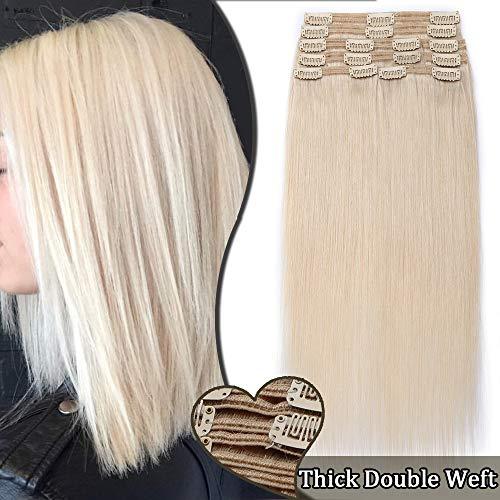 Extensions a Clip Cheveux Naturel Maxi Volume 8 Bandes - Rajout Double Weft Cheveux Humain (#70 BLANC, 24 pouces/60cm-170g)