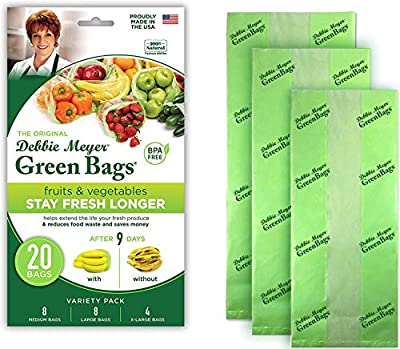 Debbie Meyer GreenBags 20-Pack (8M, 8L, 4XL) ? Keeps Fruits, Vegetables, and Cut Flowers, Fresh Longer, Reusable, BPA Free, Made in USA
