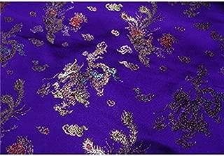 Chinese Faux Silk Dragon Peacock Brocade Satin Fabric Sold by The Yard (Dark Purple)