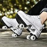 Patines Para Exteriores, Zapatos Parkour, Zapatos Deformados Multifuncionales, Niños,patines Para Adultos,zapatos Para Caminar Automáticos, Patines De Polea Extraíbles,White rollershoes-41EU