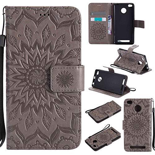 tinyue Per Xiaomi Redmi 3 / Redmi3 PRO Cover, Custodia a Portafoglio Ultra Sottile in Pelle PU, Fibbia Magnetica, Design dello Slot schede, Serie di Fiori del Sole, Grigio