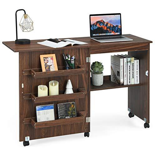 COSTWAY 2 in 1 Nähschrank und Schreibtisch, Nähtisch klappbar, Nähmaschinentisch rollbar, Nähmaschinenschrank Mehrzwecktisch, Arbeitstisch für Wohnzimmer, Schlafzimmer und Büro, 59x40x79,5 cm (Kaffee)